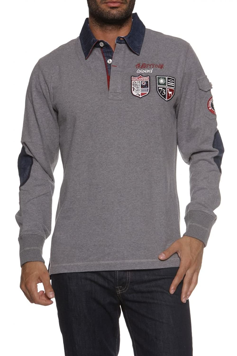 Galvanni Long Sleeve Polo Shirt ADELGARDO, Color: Grey