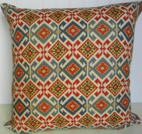 blue red decorative pillow cover red gold cream 20 x 20 designer accent pillow jaycookeliap