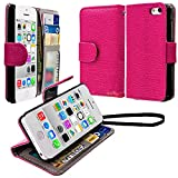 myLife Bright Girly Pink {Classic Design} Faux Leather (Card, Cash and ID Holder + Magnetic Closing + Hand Strap) Slim Wallet for the iPhone 5C Smartphone by Apple (External Textured Synthetic Leather with Magnetic Clip + Internal Secure Snap In Hard Rubberized Bumper Holder)