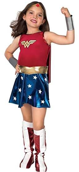 Super DC Heroes Wonder Woman Child's Costume - Child's Small Size 4 to 6, for ages 3 to 4, 44 to 48-inches tall, 25 to 26-inch waist, 27 to 28-inch chest, 27 to 28-inch hips