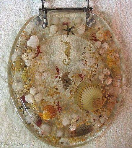 Elongated Sea Shell Lucite Tropical Fish Toilet Seat Seashell Discount