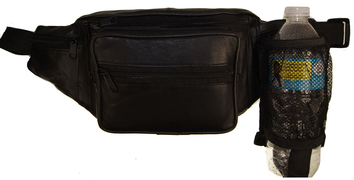 Leather Large Fanny Pack Waist Bag with Water Bottle Holder By Ag Wallets