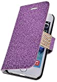 myLife Violet Purple {Glitter Passion and Buckle Design} Faux Leather (Card, Cash and ID Holder + Magnetic Closing) Slim Wallet for the iPhone 5C Smartphone by Apple (External Textured Synthetic Leather with Magnetic Clip + Internal Secure Snap In Hard Rubberized Bumper Holder)