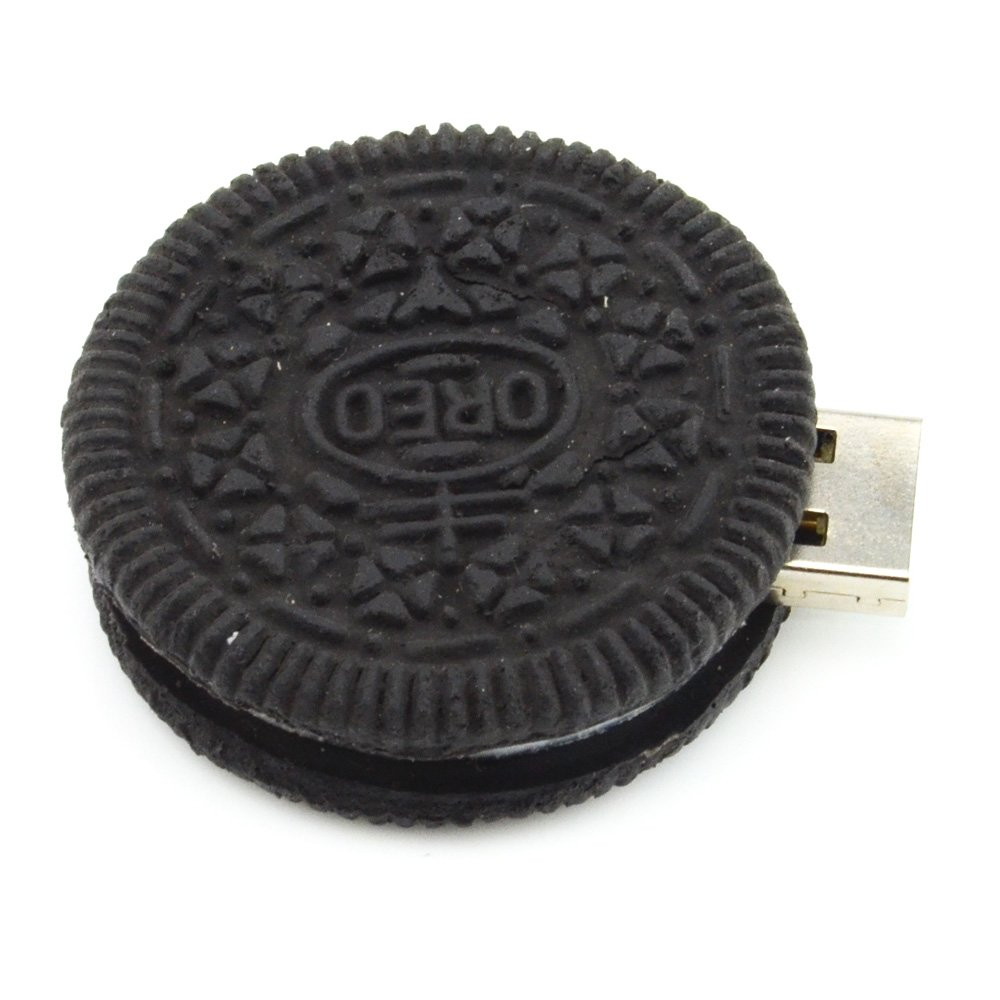 16GB Round Cookie USB Flash Drive (Black) - Food Series