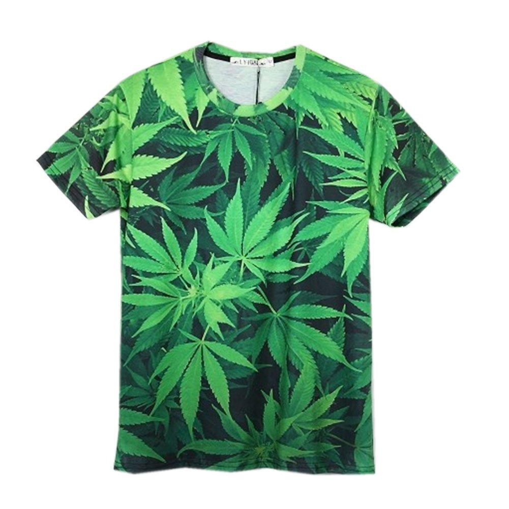 Unisex Weed hemp leaf print Galaxy Short Sleeve 3D T Shirt (XL)