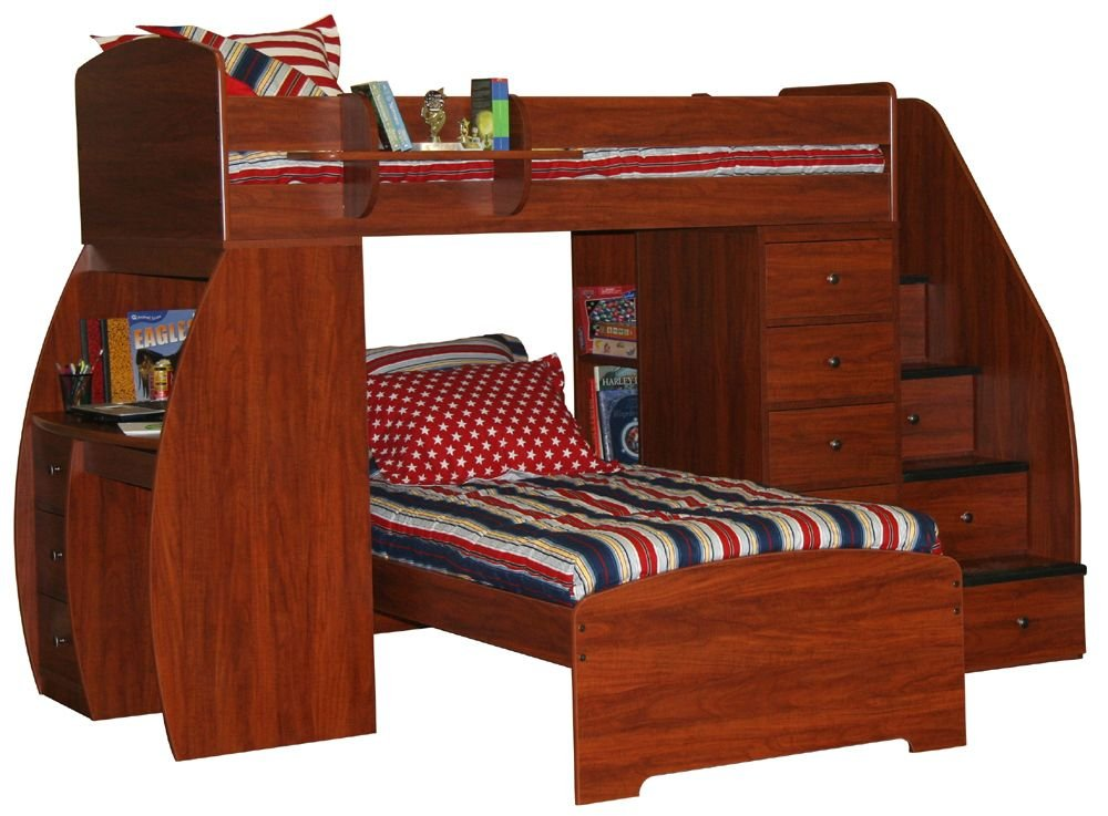 Space Saver Twin over Twin Bunk Bed with Desk, Chest & Stairs