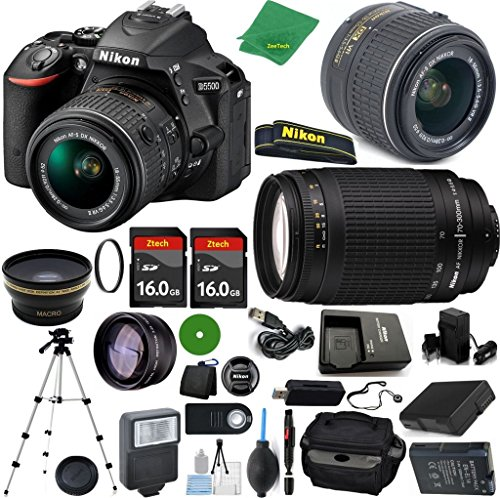 Nikon D5500 DX-Format DSLR Digital Camera Body, Nikon 18-55mm VR Lens, Nikon 70-300mm f/4-5.6G, 2pcs 16GB ZeeTech Memory, Camera Case, Wide Angle Fisheye, Telephoto, Flash, Battery, Charger