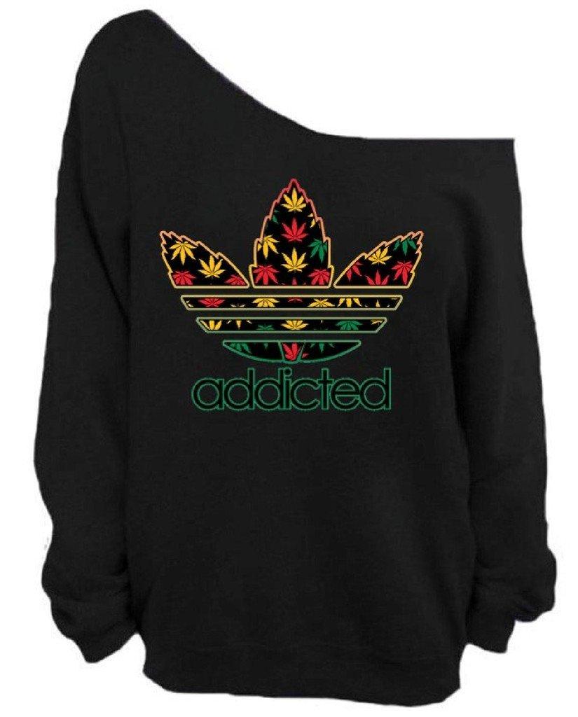 Awkwardstyles Addicted Weed Off The Shoulder Oversized Slouchy Sweatshirt