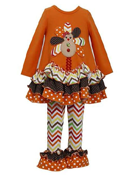 Bonnie Jean Gingerbread Turkey Pant Set with Bracelet for Mom