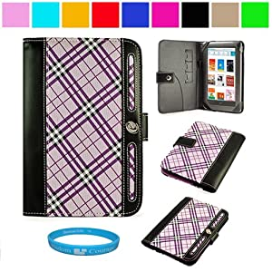 Executive Melrose Leather Protective Case Cover for Barnes and Noble Nook Color Wireless Reading Device Wi-Fi 7 inch LCD Display Screen + SumacLife TM Wisdom Courage Wristband (Purple Plaid)