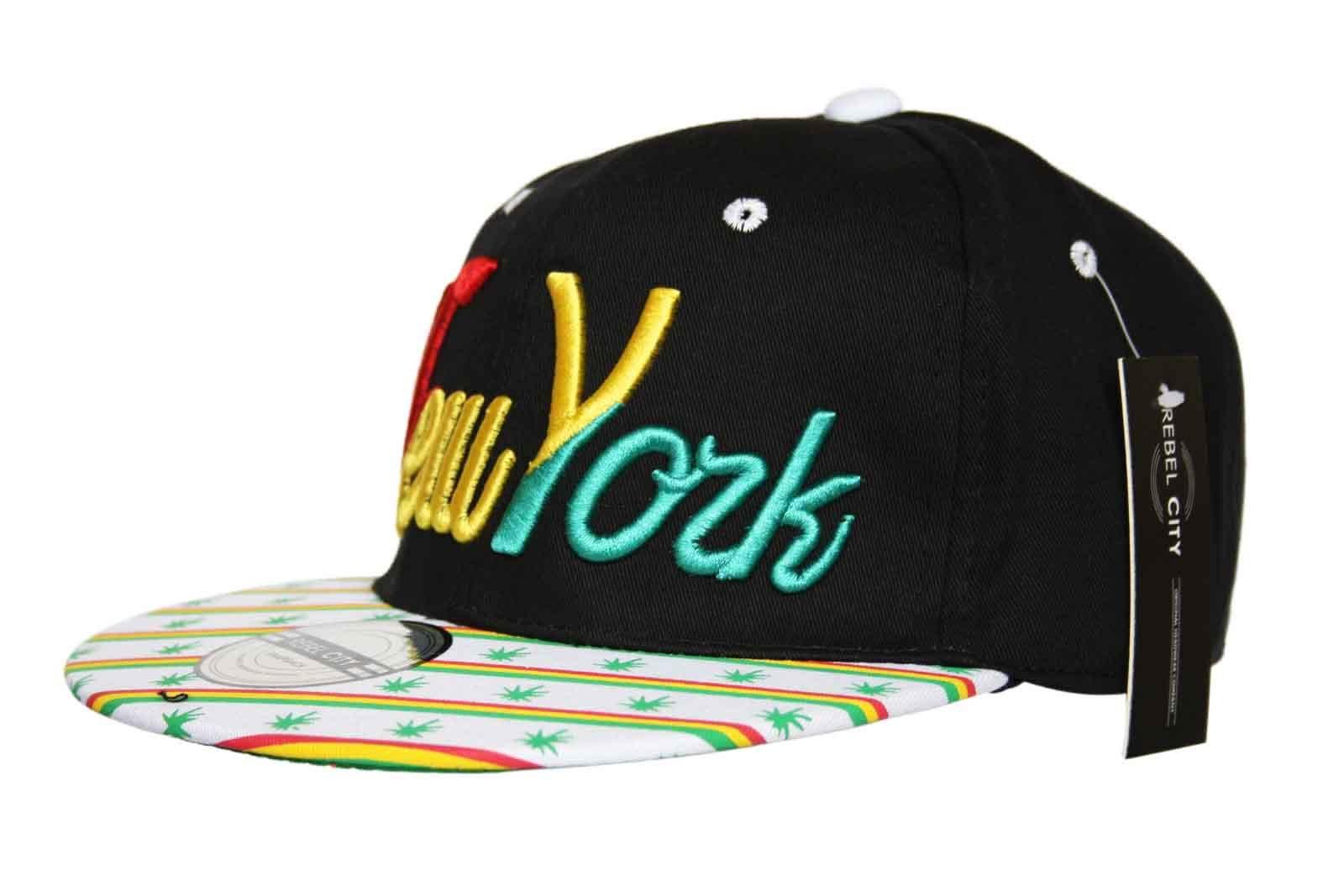 Rebel City Snapback Hat New York NY Flat Peak Ganja Baseball Cap Black White