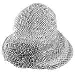 Allegra K Women Black White Floral Decor Wide Visor Nylon Acrylic Poke Bonnet Hat