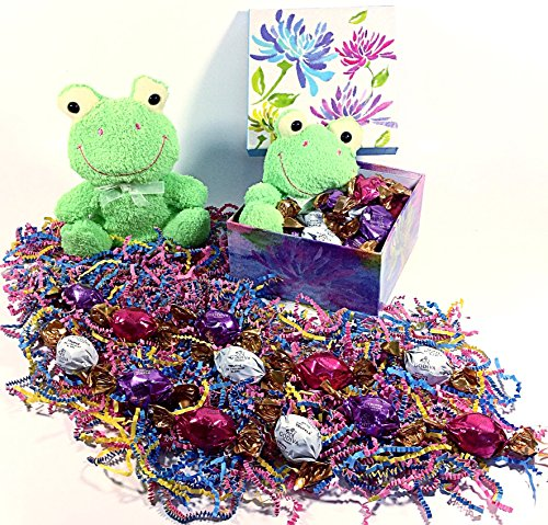 Godiva Green Frog Easter Gift Basket Alternative Box - Gourmet Truffles Chocolate Candy