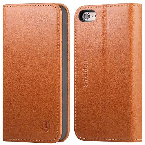 iPhone SE ケース / iPhone 5s ケース / iPhone 5 ケース 手帳型 SHIELDON® 本革カバー カード入れ スタンド機能付き マグネット式 アイフォン SE / 5s / 5財布型カバー レトロブラウン