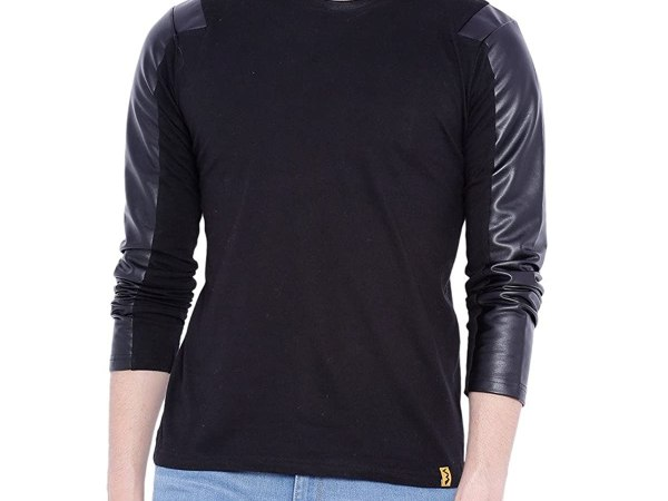 Campus Sutra Men Full Sleeve Arm Patch T-Shirt
