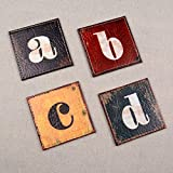 LINKWELL Shabby Chic Look Colorful Alphabet PU Leather Printed Set of 4 Coasters