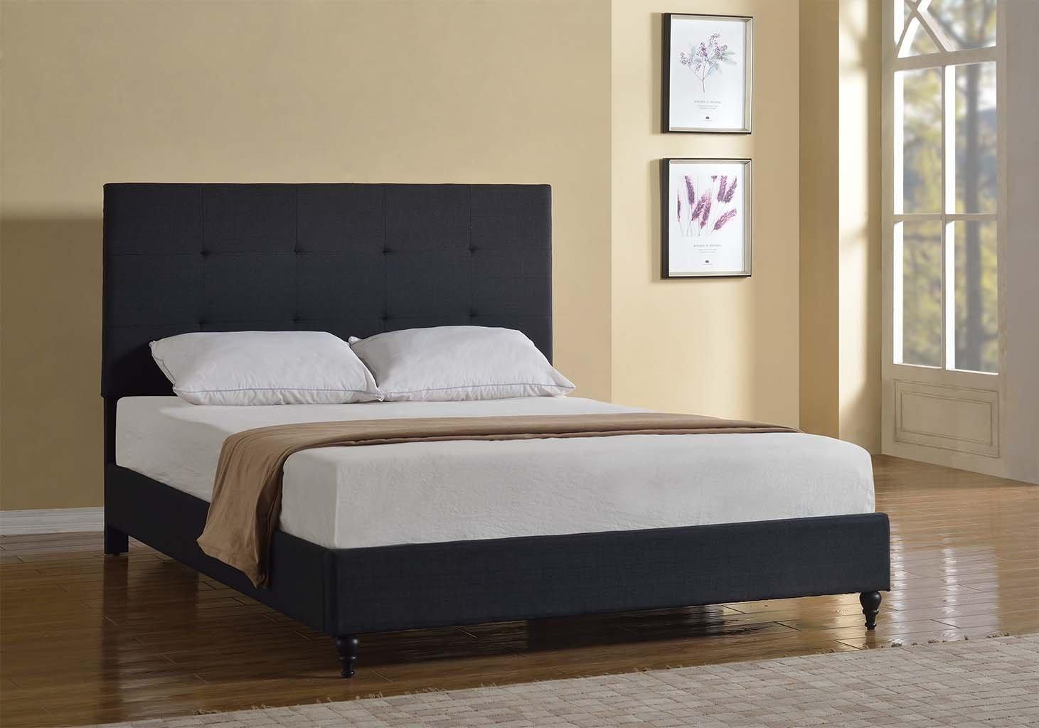 Queen Size Platform Bed Frame Upholstered Headboard Modern
