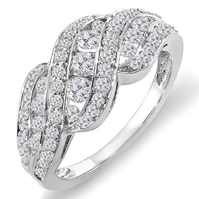 100-Carat-ctw-14K-White-Gold-Round-Diamond-Ladies-Cocktail-Right-Hand-Ring-1-CT-Size-6