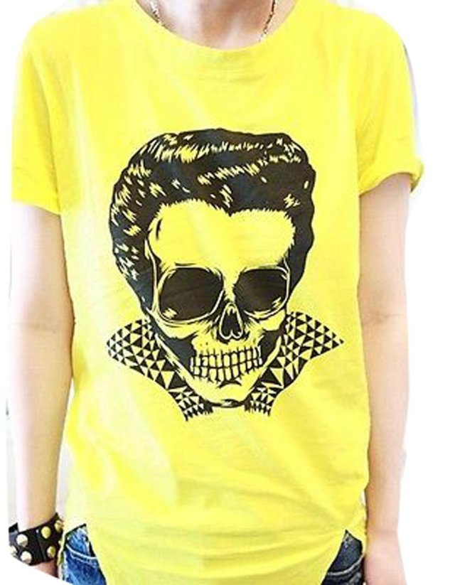 Cool Skull Pattern Slashed Zipper Back Tee Yellow Ladies Tops Blouse Cotton