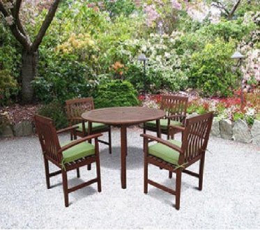 Outdoor Dining Tables      Outdoor Furniture Store 5 PC OUTDOOR PATIO DECK CHAIRS TABLE WOOD DINING CUSHIONS TEAK FINISH