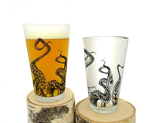Octopus Tentacle Pint Glasses - Set of Two Screen Printed Pint Glasses