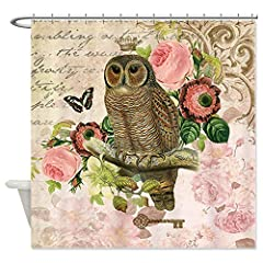 CafePress Vintage French shabby chic owl Shower Curtain - Standard White