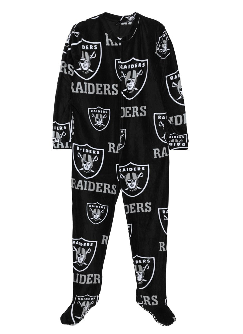 Oakland Raiders Mens Onesie Footie Black Pajama for men