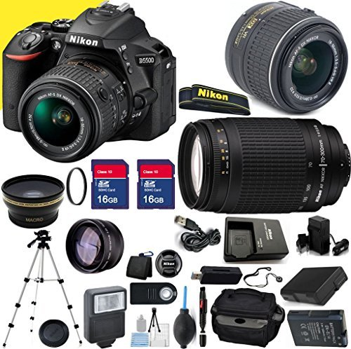 Nikon D5500 Premium Package with 18-55mm VR II Lens & 70-300mm G Lens with Two Memory Cards, Tripod, Case, SD Card Reader, Wide Angle Lens, Telephoto Lens and More