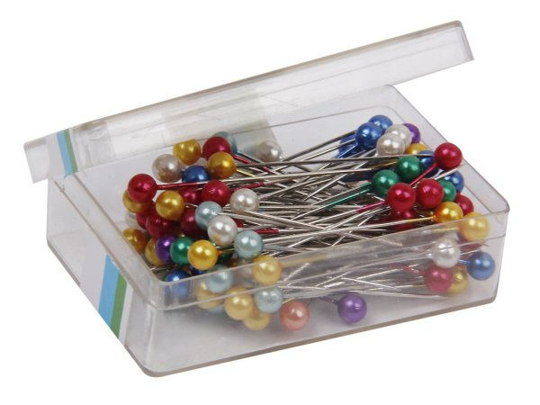 Imported 80 Colorful Pearl Head Dressmaking Sewing Pins Wedding Florists Tailor Craft