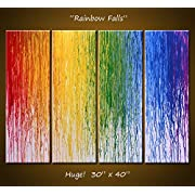 Abstract Art Rainbow Painting Original Large Modern Art Wall Decor ... 30 x 40 4 ready to hang canvases Rainbow Falls
