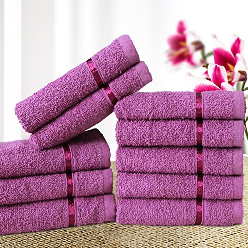 Story@Home Solid 10 Piece 450 GSM Cotton Face Towel Set - Purple