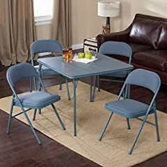 Meco Meco Sudden Comfort Deluxe Double Padded Chair and Back- 5 Piece Card Table Set - Cadet Blue, 34L x 34W x 28H in. (Table), Cadet Blue