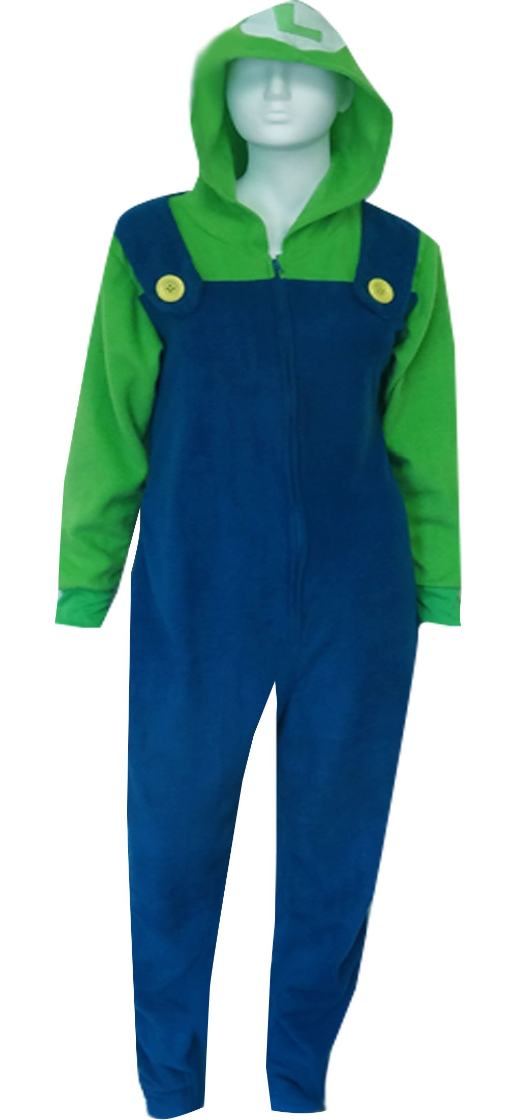 Nintendo Super Mario Brothers Luigi Hooded Onesie Pajama for men