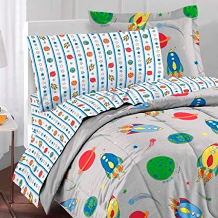 Space Rocket Ultra Soft Microfiber Twin Comforter Bedding Set