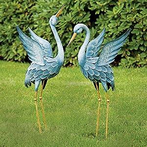 Amazon.com : Bits and Pieces - Japanese Blue Heron Metal ... on Backyard Decorations Amazon id=16041