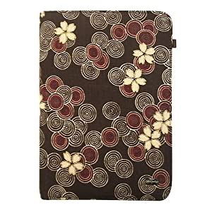 JAVOedge Cherry Blossom Book Style Case for the Barnes & Noble Nook (Cocoa) - First Generation