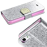 myLife Silver and Light Pink {Sparkling Glitter and Buckle Design} Faux Leather (Card, Cash and ID Holder + Magnetic Closing) Slim Wallet for the iPhone 5C Smartphone by Apple (External Textured Synthetic Leather with Magnetic Clip + Internal Secure Snap In Hard Rubberized Bumper Holder)