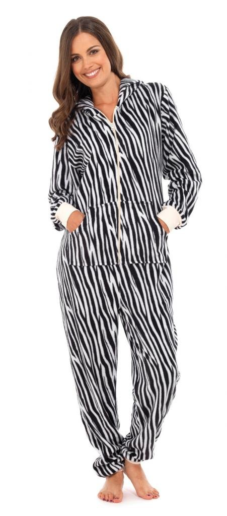 Ladies Animal Patterned Zebra Winter All In One Onesie