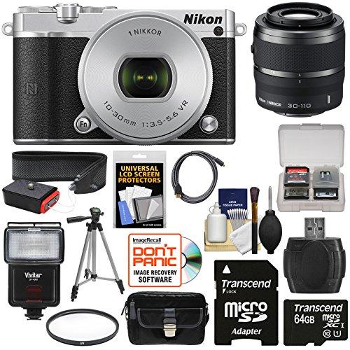 Nikon 1 J5 Wi-Fi Digital Camera & 10-30mm Lens (Silver) with 30-110mm VR Zoom Lens + 64GB Card + Battery + Charger + Strap + Case + Tripod + Flash + Filter Kit