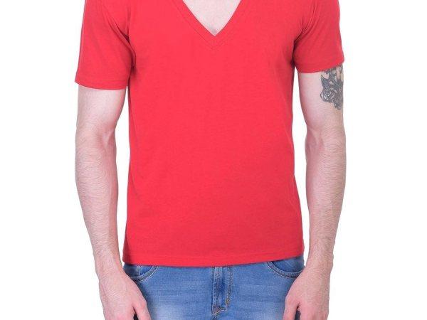 Vivid Bharti Men's Deep V Neck Red T-shirt