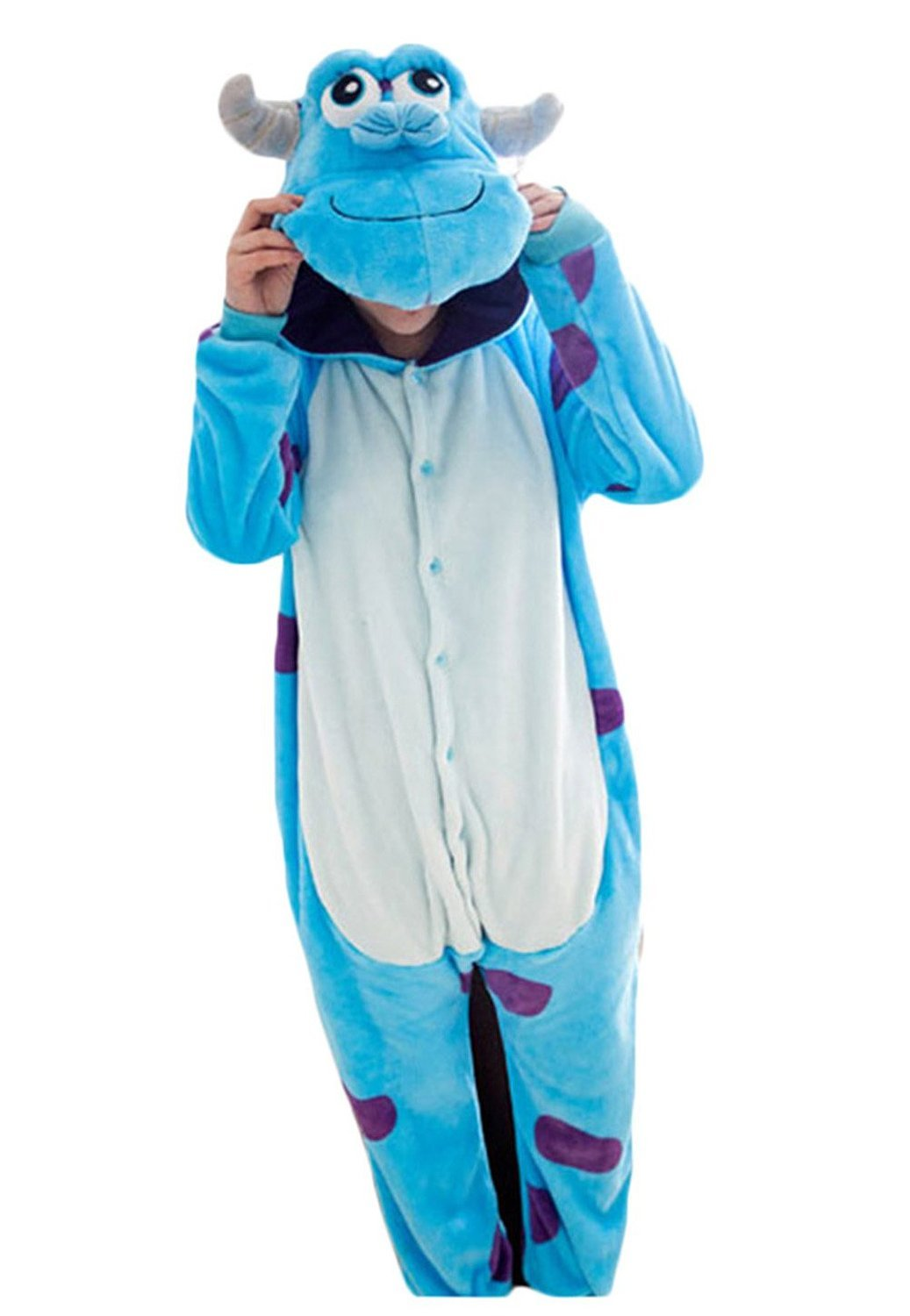 Women Men Sulley Unisex Adult Animal Sleep Suit Cosplay Kigurumi Costume Pajamas Outfit Costume Nightclothes Onesies Clothing Pajamas Tracksuit