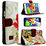 myLife Colorful Abstract Mural Print - Contemporary Design - Koskin Faux Leather (Card, Cash and ID Holder + Magnetic Detachable Closing) Slim Wallet for NEW Galaxy S5 (5G) Smartphone by Samsung (External Rugged Synthetic Leather With Magnetic Clip + Internal Secure Snap In Hard Rubberized Bumper Holder)