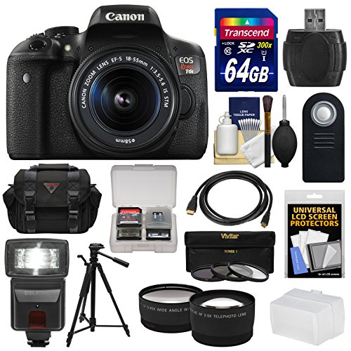 Canon EOS Rebel T6i Wi-Fi Digital SLR Camera & EF-S 18-55mm IS STM Lens with 64GB Card + Case + 3 Filters + Tripod + Flash + Tele/Wide Lens Kit