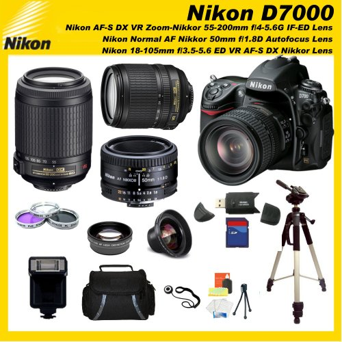 Nikon D7000 16.2MP DX-Format CMOS Digital SLR with 3.0-Inch LCD with Nikon 18-105mm ED VR AF-S DX Nikkor Autofocus Lens & Nikon Normal AF Nikkor 50mm f/1.8D Autofocus Lens & Nikon AF-S DX VR Zoom-Nikkor 55-200mm f/4-5.6G IF-ED Lens with SSE Pro Series 16GB Accessory Package: Including 3 Extra Lenses, 16GB SDHC Card, Deluxe Carrying Case, Tripod and much much more...