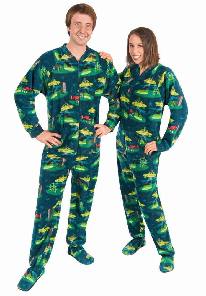 Mens Footie Pajamas Alien Abduction Drop Seat