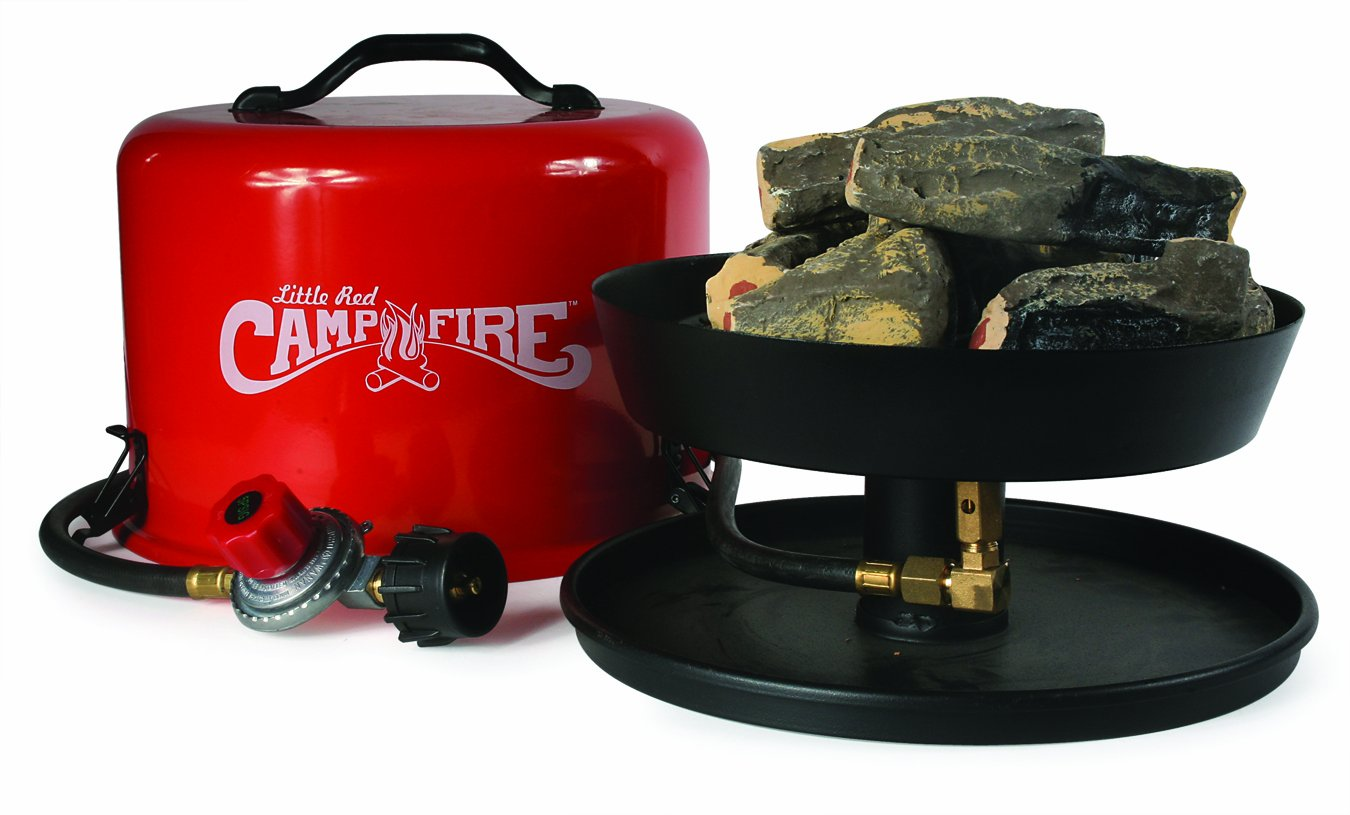 """Amazon.com: """"Little Red Campfire"""" Portable Propane Camp Fire So many places ban open fires.. and even so, fires can be a pain to tend to. This little propane 'fake' campfire creates the ambience & heat without the fuss."""