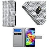 myLife Shimmering Silver Crystal - Glamorous Design - Koskin Faux Leather (Card, Cash and ID Holder + Magnetic Detachable Closing) Slim Wallet for NEW Galaxy S5 (5G) Smartphone by Samsung (External Rugged Synthetic Leather With Magnetic Clip + Internal Secure Snap In Hard Rubberized Bumper Holder)