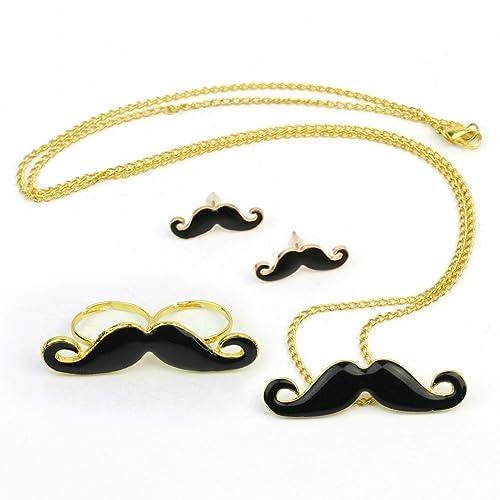 Black Mustache Party Set. Necklace Pendant, Earnings, Double Mustache Ring