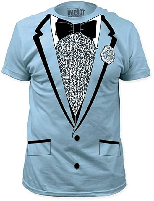 Impact Originals Retro Prom Blue Tux T-shirt (Small)