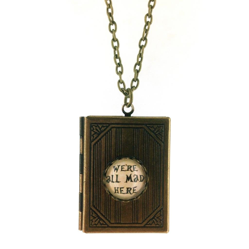 We're All Mad Here, Alice In Wonderland Book Locket Pendant Unique And Quirky Gift Ideas Any Odd Person Will Appreciate (Fun Gifts!)